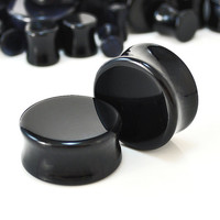 """Pair of Black Onyx Ear Plugs - Double flare saddle design, beautifully polished, available in 14 sizes from 4g (2mm) - 1.5"""" (38mm)"""