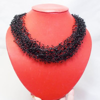 CHRISTMAS SALE Black necklace gift for grandmother midnight seed Beads evening beadwork gift idea gift her