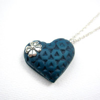 Teal polymer clay heart shaped pendant for valentines day. gift of love wearable art.
