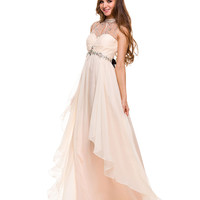 Preorder -  Nude Empire Waist Beaded Gown  Prom 2015