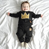 Baby boy long-sleeved clothing top + pants 2 pcs sport suit children's clothes set newborn crown children's clothing