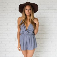 Want To Be Free Blue Romper
