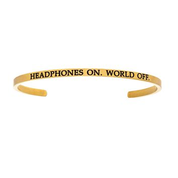 Intuitions Stainless Steel HEADPHONES ON.WORLD OFF. Diamond Accent Cuff Bangle Bracelet