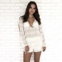 Crochet Cover Up Romper in Ivory