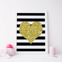 Printable art GOLD HEART Print,printable art,printable quote,gold print,gold and black prints,digitalprints,instant download,home decor,art