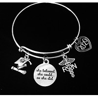 Graduating RN Gift Nurse She Believed She Could So She Did Silver Expandable Charm Bracelet Adjustable Bangle Gift