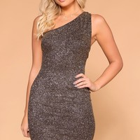 Own The Night Bronze Glitter Bodycon Dress