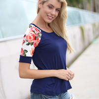 Navy Top With Floral Short Sleeves
