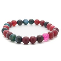 Green and Red Agate Gemstones Beaded Bracelet for Men and Women