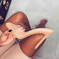 Jelly Sandals Open Toe High Heels Women Transparent Perspex Slippers Shoes Heel Clear Sandals