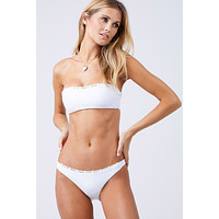 Chain Reaction Bandeau Bikini Top - White