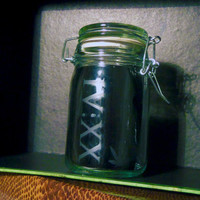 Stash Jar 420 IVXX Weed Leaf Pot Cannabis Container Medical Marijuana Bong Ganja Hemp Hippy MMJ Colorado California Custom Etching Available