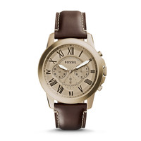Grant Leather Watch, Brown | Fossil