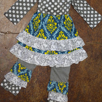 Girls Damask & Polka Dot Frills Outfit {Grey}