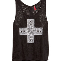 Tank Top with Burnout Pattern - from H&M