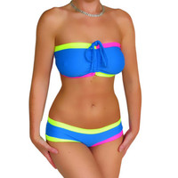 Blue colorful swimwear Handmade custom colorblock swimsuit pink neon swimwear plus size bandeau bikini