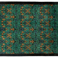 "8'x9'10"" Art & Craft Knotted Rug, Black, Area Rugs"