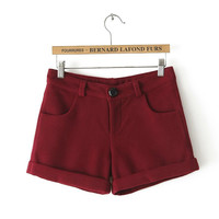 Winter Korean Slim Wool Boot Cut Shorts [4918045700]