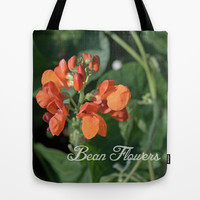 bright orange bean flowers. garden vegetable plant photography. Tote Bag by NatureMatters