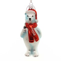 Holiday Ornaments COCA COLA POLAR BEAR Glass Licensed Hand Crafted Cc4132