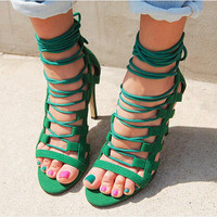Summer Fashion Women's Shoes - Lace Up Sandals for summer Roman style ankle length in green = 4777199108
