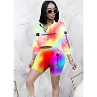 Champion New fashion letter print multicolor long sleeve top and shorts two piece suit