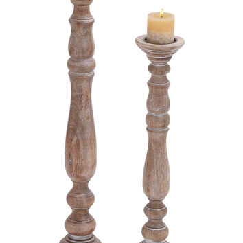 Jasmine Wooden Candle Holder with Antiqued Finish Set of 2