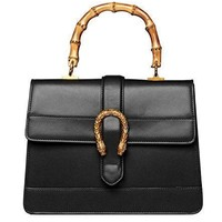 Actlure Women Genuine Cowhide Leather Bamboo Top Handle Bag-1