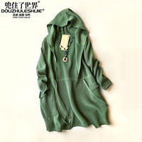 New Woman Cardigan Coat 2016 Spring Autumn Solid Color Open Neckline Hooded Coats Clothing Knitting Cardigans Sweater Coat