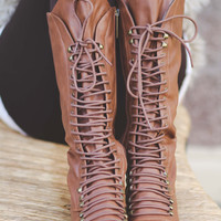 Down In Georgia Lace Up Boots-TAN