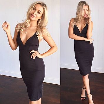 Simple Temperament Deep V-Neck Backless Sleeveless Strap Tight Mini Dress