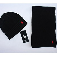 x1love  POLO  Women Men Winter Knit Hat Cap Scarf Set Two-Piece