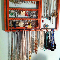 BEST Seller - Jewelry Organizer - Earring Holder, Holds 96 Pairs. 13 Peg Necklace Holder. Wall Mount Jewelry Holder, Sedona Red