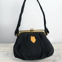 1950's Little Black Grosgrain Pouch Purse Handbag :