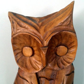 1960s LARGE RETRO OWL - Vintage MonkeyPod Wood Hand Carved Wooden Owl Statue - Philcraft Made in the Philippines - Owl Decor - Monkey Pod