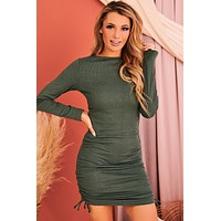 Getting Attached Side Ruched Bodycon (Green)