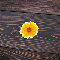 """Sunflower - Pack Of 3 - 4"""" Wide - Personalized Sticker - Die Cut"""