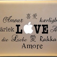 LOVE in Many Languages MACBOOK MAC Vinyl Decal Spanish French Italian | MakeItMineDesigns - Techcraft on ArtFire