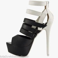 Liliana Trekkie 2 Tone Stiletto Shoe Black / White Straps Soul & Heel 7-11