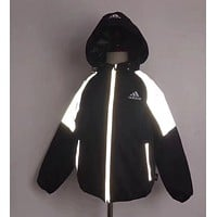 Adidas Girls Boys Children Baby Toddler Kids Child Fashion Casual Reflective Light Cardigan Jacket Coat