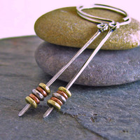 Stick Earrings Mixed Metal Jewelry Oxidized Sterling Silver Open Hoops African Found Metal Brass Copper Silver Eco Friendly Recycled Silver