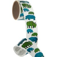 Bulk Roll Prismatic Stickers, Rhino, Hippo and Babies (50 Repeats)