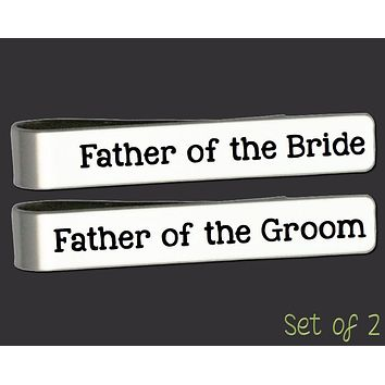 Father of the Bride Father of the Groom Tie Bar Set