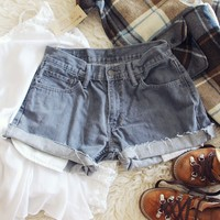 Vintage Gray Cuffed Shorts