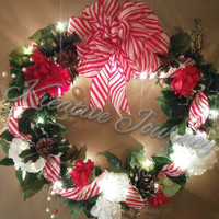 Beautiful Christmas wreath-winter wreath-holiday wreath- red and white wreath-traditional Christmas wreath