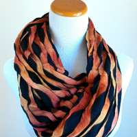 Ombre Brown with Black Infinity Scarf, Accessories, women, scarves