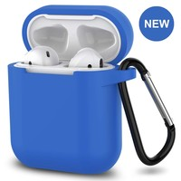 New AirPods Case, 360°Protective Silicone AirPods Accessories Kit Compatable with Apple AirPods 1st/2nd Charging Case [Not for Wireless Charging Case] - Blue