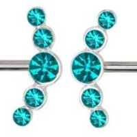 Sparkling Blue Zirconia Bluish Green Double 5 Gemmed Gems Stainless Steel Nipple Barbell piercing bar body jewelry 14g gauge- Sold as a Pair