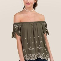 Avaline Embroidered Off The Shoulder Tie Sleeve Top