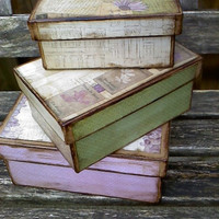 Pretty flowers Decorative boxes set of 3 by Plumleafhollow on Etsy